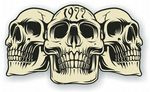 Vintage Biker 3 Gothic Skulls Year Dated Skull 1977 Cafe Racer Helmet Vinyl Car Sticker 120x70mm